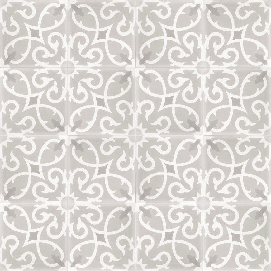 Mosaic House Moroccan tile Lucifer C24-14-45 Silver, gray White City Gray  cement, encaustic, field, pattern