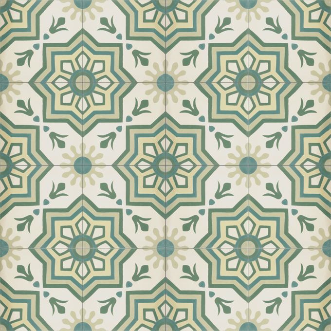 Mosaic House Moroccan tile Madera C3-27-35-13-44 Cream, white Green Mint, green Evergreen Linen, gray  cement, encaustic, field, pattern