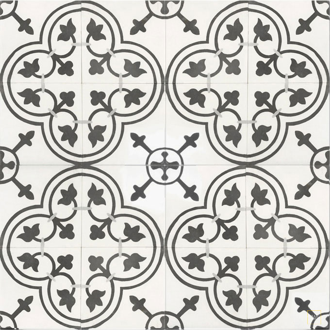 Mosaic House Moroccan tile Maison C14-4-24 White Black Silver, gray  cement, encaustic, field, pattern, floral