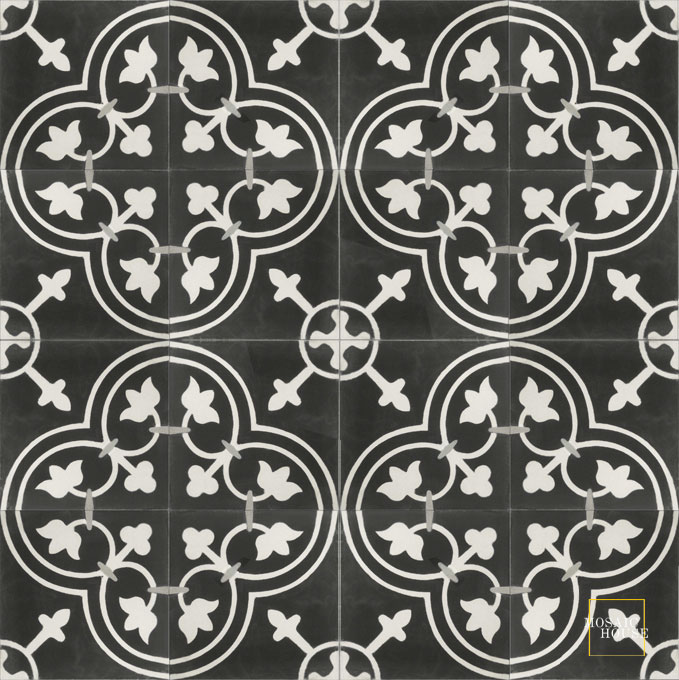 Mosaic House Moroccan tile Maison C4-14-24 Black White Silver, gray  cement, encaustic, field, pattern