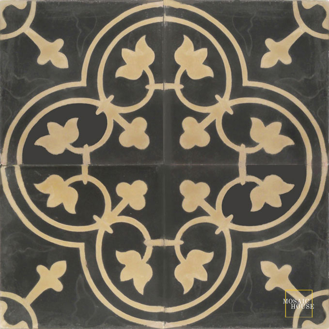 Mosaic House Moroccan tile Maison C4-32 Black Copper, tan, beige  cement, encaustic, field, pattern