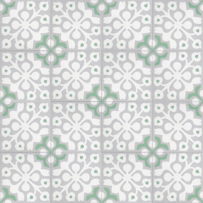 Mosaic House Moroccan tile Marianne C14-24-30 White Silver, gray Spring Green  cement, encaustic, field, pattern, floral