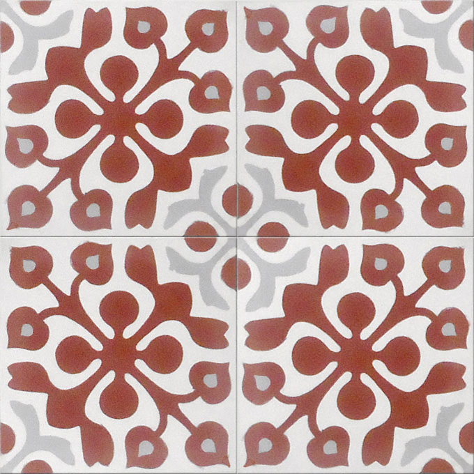 Mosaic House Moroccan tile Marianne C10-14-24 Brick Red White Silver, gray  cement, encaustic, field, pattern