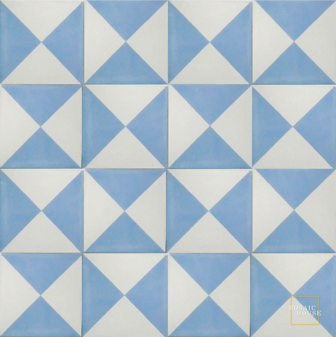 Mosaic House Moroccan tile Mariposa C14-22 White Powder Blue  cement, encaustic, field, pattern
