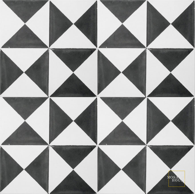 Mosaic House Moroccan tile Mariposa C14-4 White Black  cement, encaustic, field, pattern