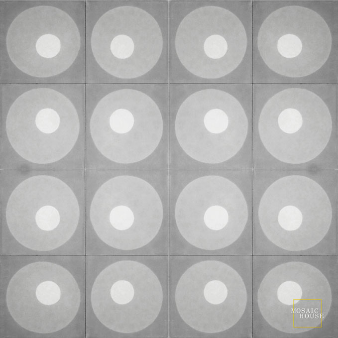 Mosaic House Moroccan tile Martini C33-24-14 Gray Silver, gray White  cement, encaustic, field, pattern