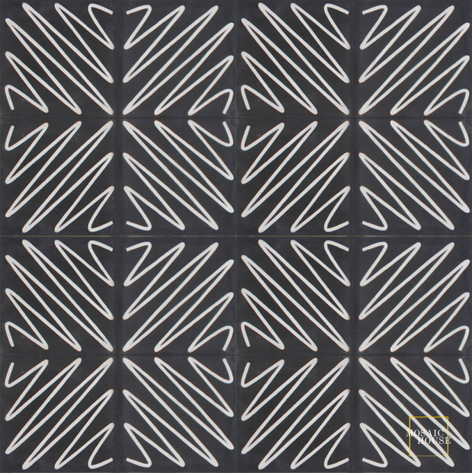 Mosaic House Moroccan tile Metro C4-14 Black White  cement, encaustic, field, pattern, modern