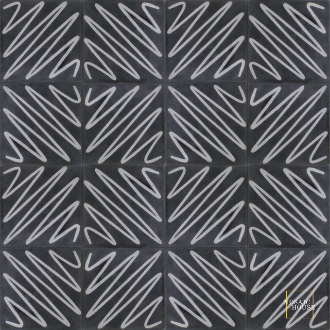 Mosaic House Moroccan tile Metro C4-24 Black Silver, gray  cement, encaustic, field, pattern