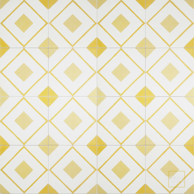 Mosaic House Moroccan tile Moderno C14-2-15 White Yellow Ochre, yellow, orange  cement, encaustic, field, pattern, geometric, classic