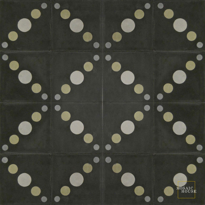 Mosaic House Moroccan tile Moon C4-33-36-24 Black Gray Ash Gray, gray Silver, gray  cement, encaustic, field, pattern