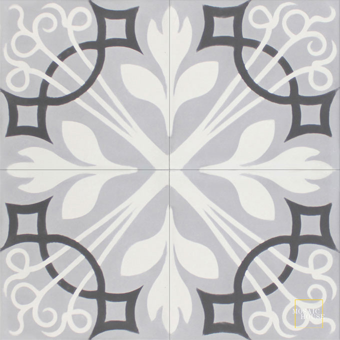 Mosaic House Moroccan tile NYNY C24-14-4 Silver, gray White Black  cement, encaustic, field, pattern, floral