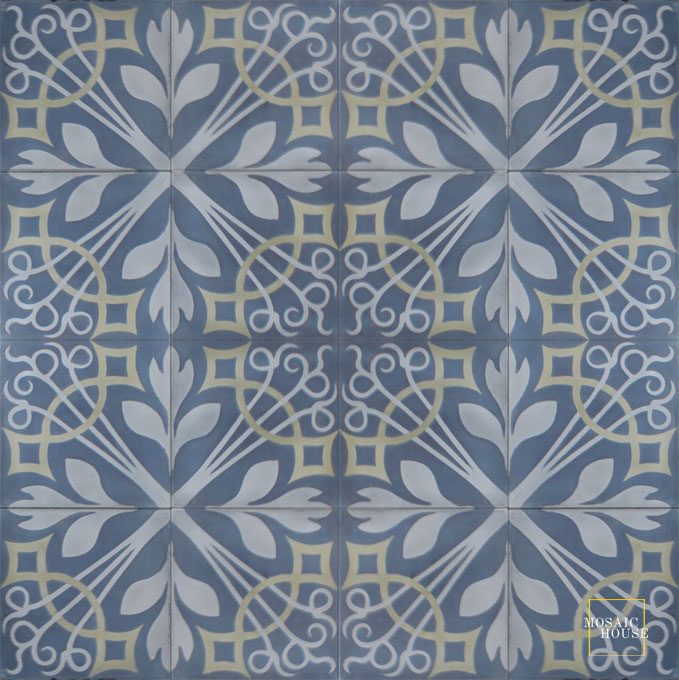 Mosaic House Moroccan tile NYNY C41-33-34 Midnight Blue Gray Aged Copper, gray  cement, encaustic, field, pattern
