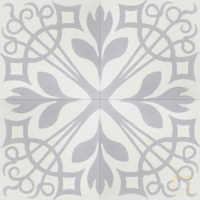 Mosaic House Moroccan tile NYNY C14-24 White Silver, gray  cement, encaustic, field, pattern