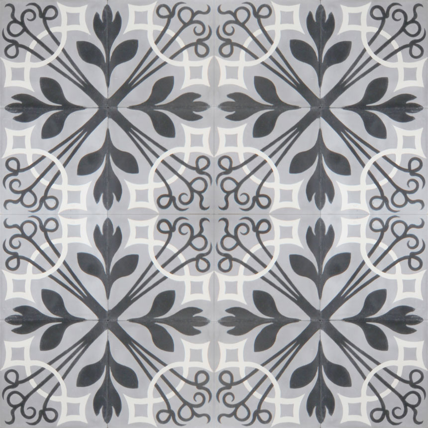 Mosaic House Moroccan tile NYNY C24-4-14 Silver, gray Black White  cement, encaustic, field, pattern