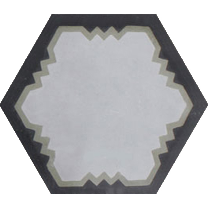 Mosaic House Moroccan tile Parisienne Art C24-34-4 Silver, gray Aged Copper, gray Black  cement, encaustic, field, pattern, hexagonal, modern, classic