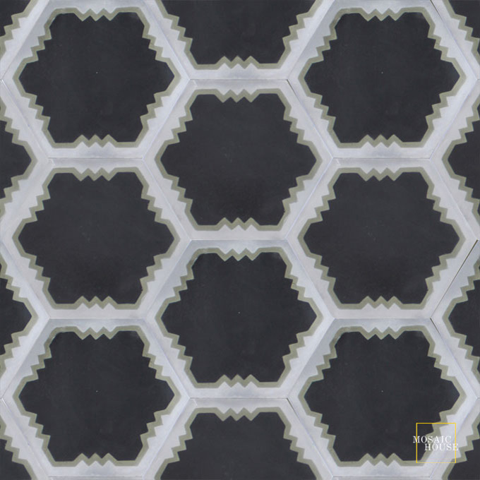Mosaic House Moroccan tile Parisienne Art C4-34-24 Black Aged Copper, gray Silver, gray  cement, encaustic, field, pattern