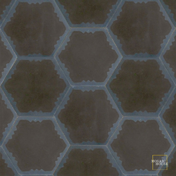 Mosaic House Moroccan tile Parisienne Art C4-41 Black Midnight Blue  cement, encaustic, field, pattern