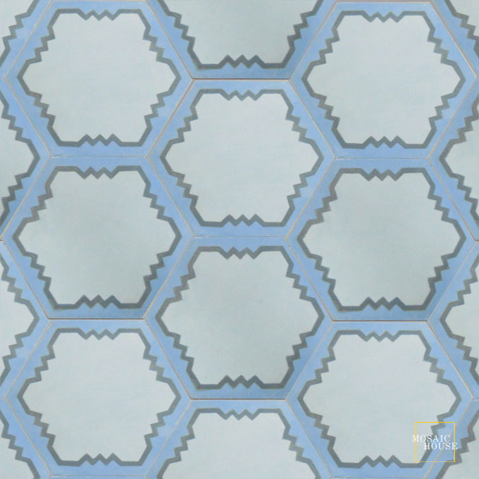Mosaic House Moroccan tile Parisienne Art C23-29-6 Mist, blue Azur Blue Pacific Blue  cement, encaustic, field, pattern