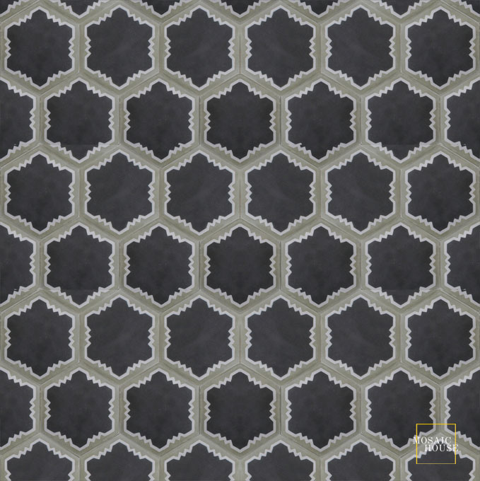 Mosaic House Moroccan tile Parisienne Art C4-24-34 Black Silver, gray Aged Copper, gray  cement, encaustic, field, pattern