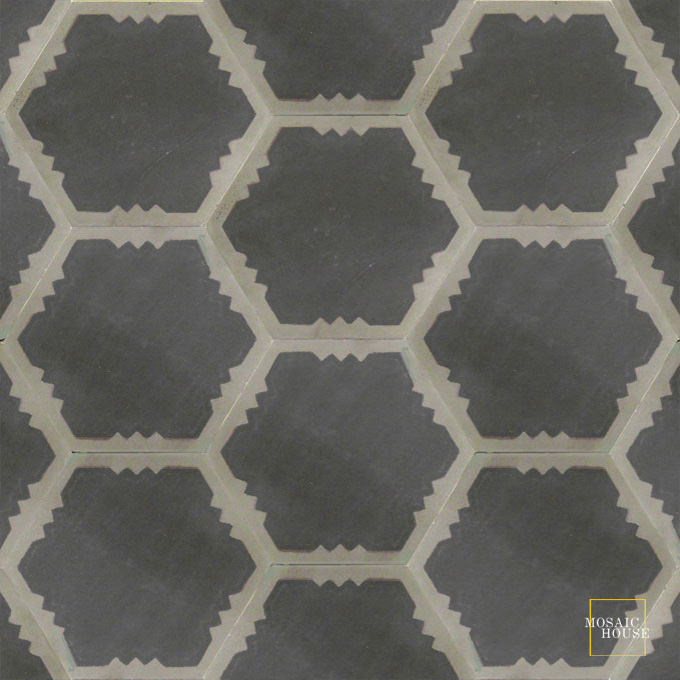 Mosaic House Moroccan tile Parisienne Art C4-34 Black Aged Copper, gray  cement, encaustic, field, pattern