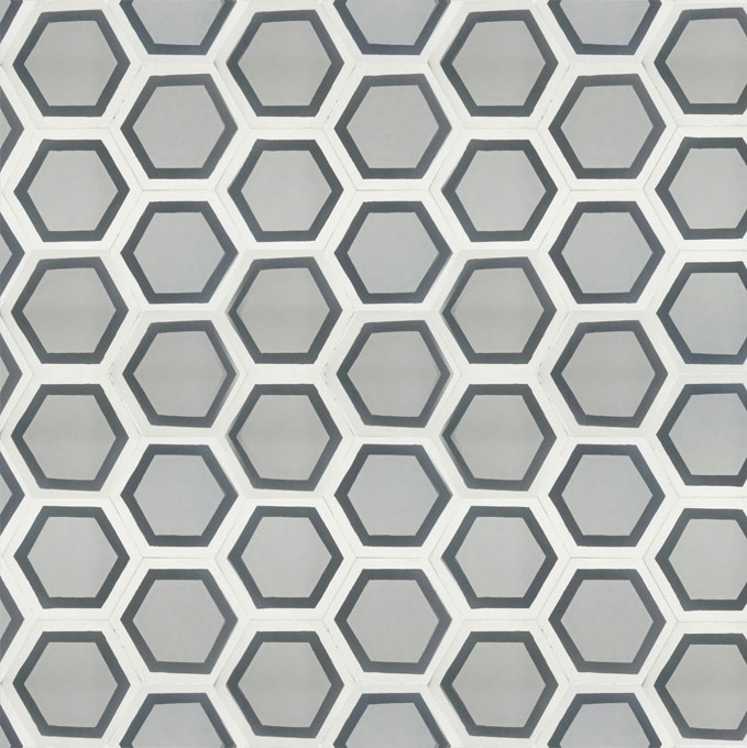 Mosaic House Moroccan tile Parisienne Classic C24-4-14 Silver, gray Black White  cement, encaustic, field, pattern, hexagonal, modern, classic