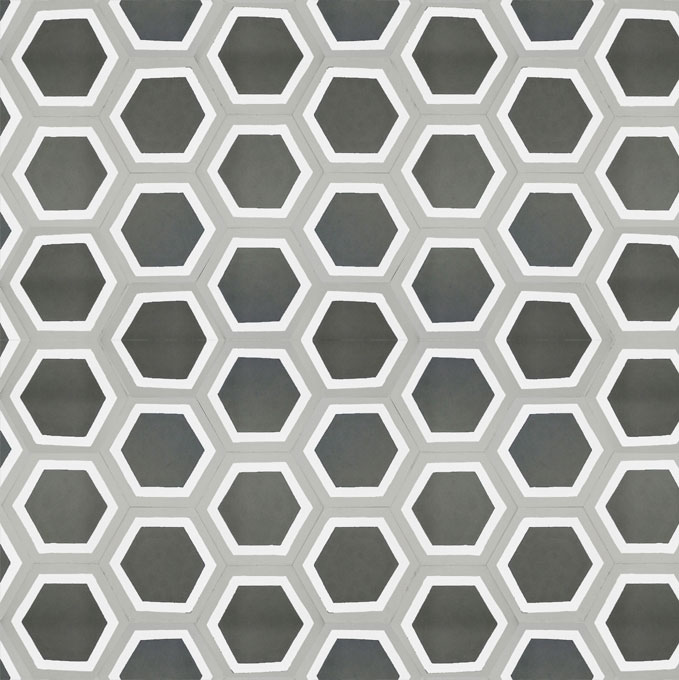 Mosaic House Moroccan tile Parisienne Classic C4-14-24 Black White Silver, gray  cement, encaustic, field, pattern