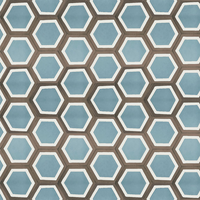 Mosaic House Moroccan tile Parisienne Classic C29-14-5 Azur Blue White Chocolate, brown  cement, encaustic, field, pattern