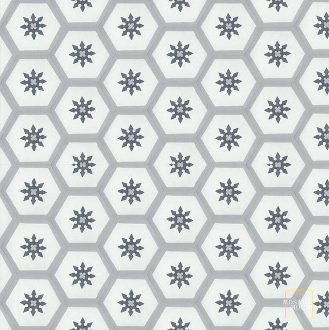 Mosaic House Moroccan tile Parisienne Flower C4-14-24 Black White Silver, gray  cement, encaustic, field, pattern, hexagonal, floral