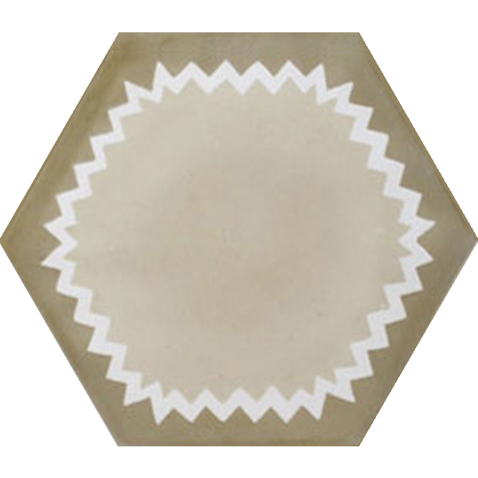 Mosaic House Moroccan tile Parisienne Muse C31-14-32 Almond, tan, beige White Copper, tan, beige  cement, encaustic, field, pattern, hexagonal, modern