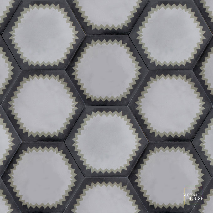 Mosaic House Moroccan tile Parisienne Muse C24-34-4 Silver, gray Aged Copper, gray Black  cement, encaustic, field, pattern