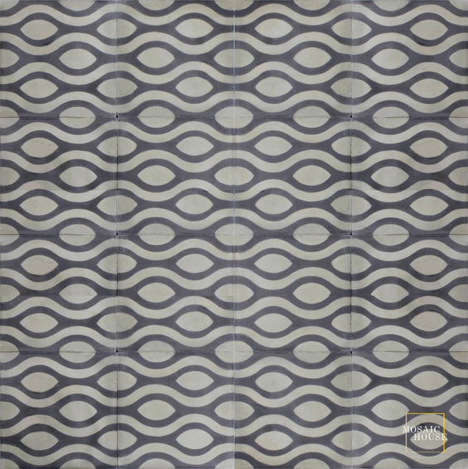 Mosaic House Moroccan tile Prato C C4-34 Black Aged Copper, gray  cement, encaustic, field, pattern, modern
