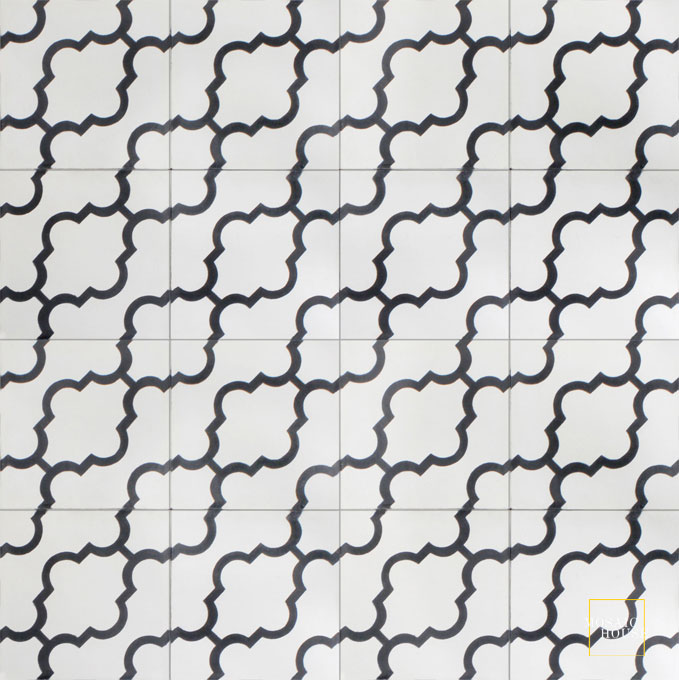 Mosaic House Moroccan tile Primula D C14-4 White Black  cement, encaustic, field, pattern arabesques, modern