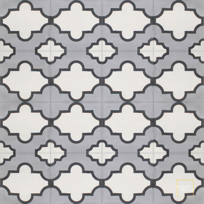 Mosaic House Moroccan tile Primula SQ C24-14-4 Silver, gray White Black  cement, encaustic, field, pattern arabesques