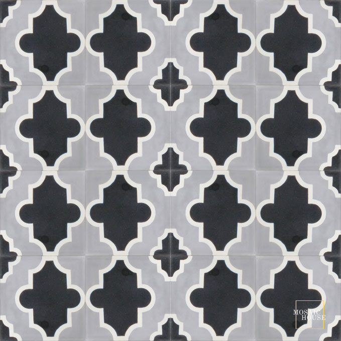 Mosaic House Moroccan tile Primula SQ C24-4-14 Silver, gray Black White  cement, encaustic, field, pattern