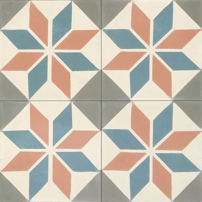 Mosaic House Moroccan tile Queens C3-19-29-34 Cream, white Cotta, pink Azur Blue Aged Copper, gray  cement, encaustic, field, pattern, geometric, classic