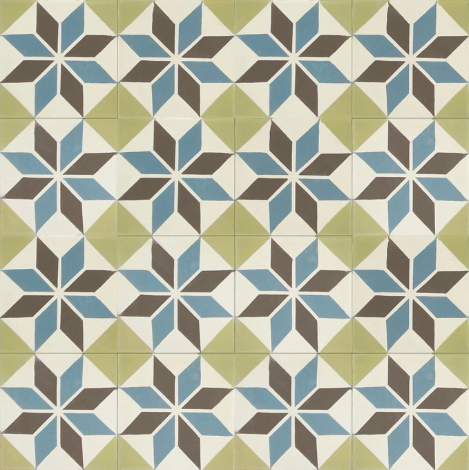 Mosaic House Moroccan tile Queens C3-5-29-37 Cream, white Chocolate, brown Azur Blue Lime Green  cement, encaustic, field, pattern