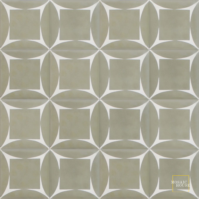 Mosaic House Moroccan tile Ramblas C34-14 Aged Copper, gray White  cement, encaustic, field, pattern, modern, geometric