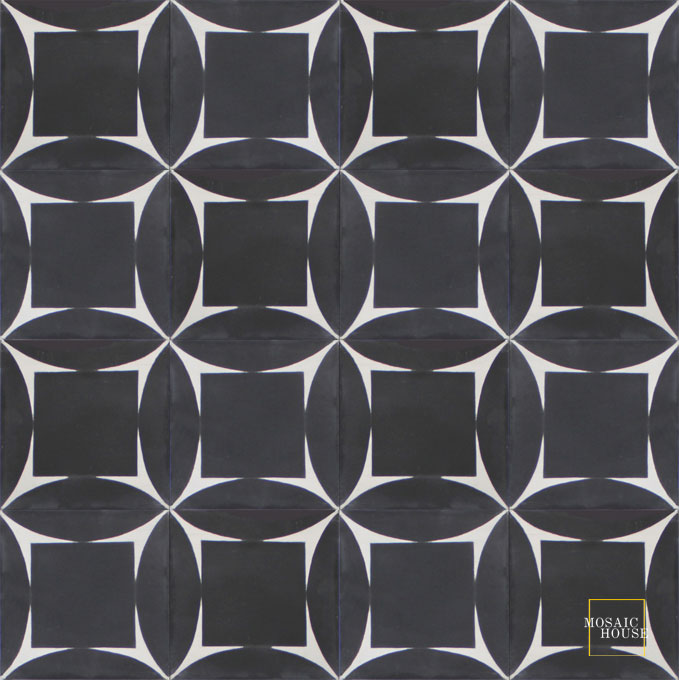Mosaic House Moroccan tile Ramblas C4-14 Black White  cement, encaustic, field, pattern