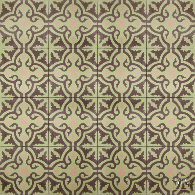 Mosaic House Moroccan tile Rosa C8-5-21 Pistachio, green Chocolate, brown Pale Salmon, pink  cement, encaustic, field, pattern