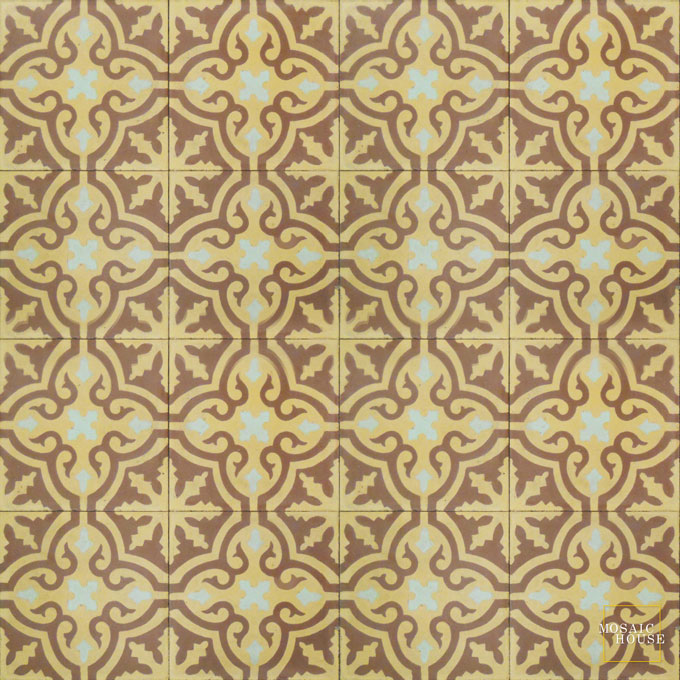 Mosaic House Moroccan tile Rosa C1-26-16 Brown Pale Jade, green  cement, encaustic, field, pattern