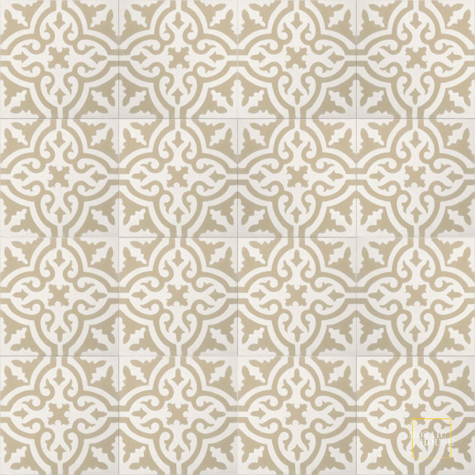 Mosaic House Moroccan tile Rosa C14-38 White Slate, gray  cement, encaustic, field, pattern