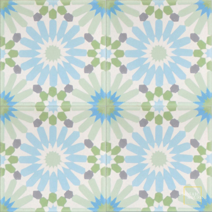 Mosaic House Moroccan tile Rugosa Song C14-16-23-8-6-24 White Pale Jade, green Mist, blue Pistachio, green Pacific Blue Silver, gray  cement, encaustic, field, pattern, floral, intricate