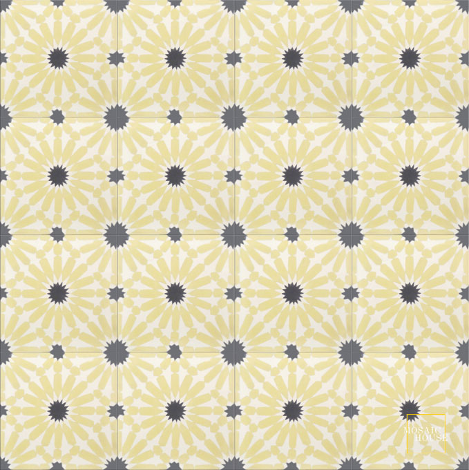 Mosaic House Moroccan tile Rugosa C2-14-4 Yellow White Black  cement, encaustic, field, pattern