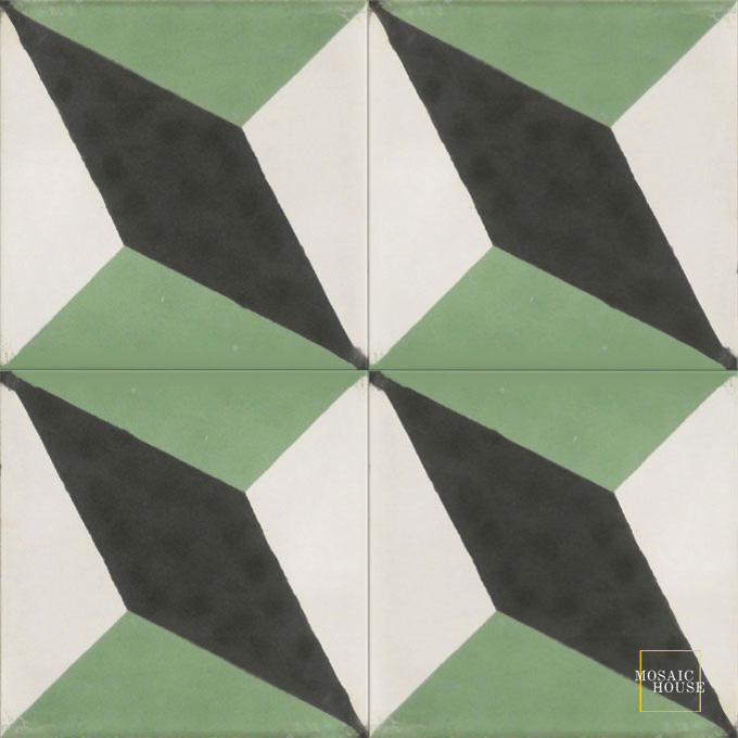 Mosaic House Moroccan tile Sailor C4-14-30 Black White Spring Green  cement, encaustic, field, pattern, modern, geometric