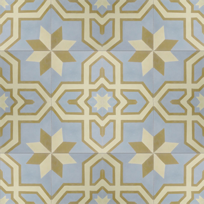 Mosaic House Moroccan tile Salvia C39-42-32 Sky Blue Vanilla, gray Copper, tan, beige  cement, encaustic, field, pattern