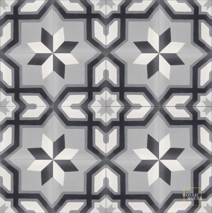 Mosaic House Moroccan tile Salvia C24-14-4-33 Silver, gray White Black Gray  cement, encaustic, field, pattern