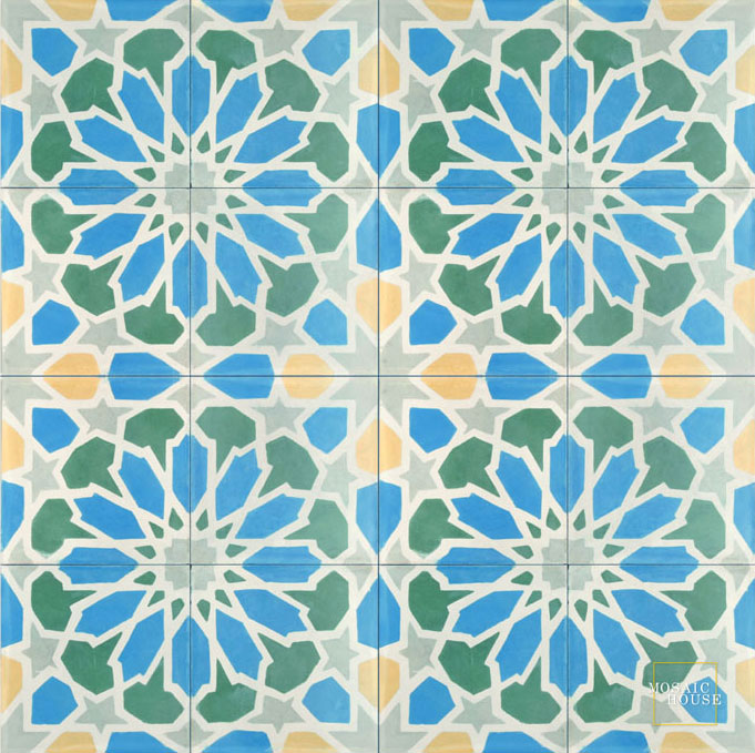 Mosaic House Moroccan tile Scabiosa C11-14-27-24-15 Blue White Green Silver, gray Ochre, yellow, orange  cement, encaustic, field, pattern