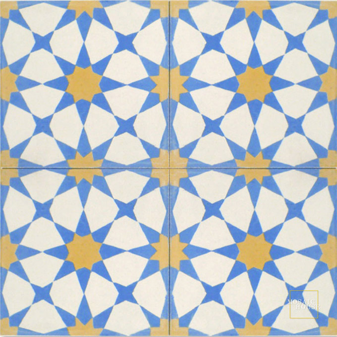 Mosaic House Moroccan tile Snowbank C14-11-15 White Blue Ochre, yellow, orange  cement, encaustic, field, pattern, traditional, stars, classic