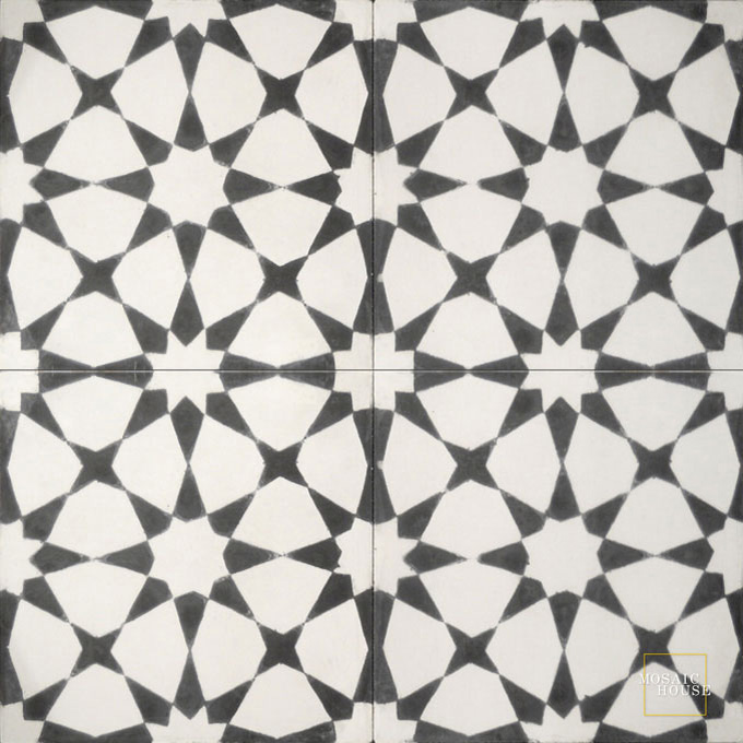 Mosaic House Moroccan tile Snowbank C14-4 White Black  cement, encaustic, field, pattern