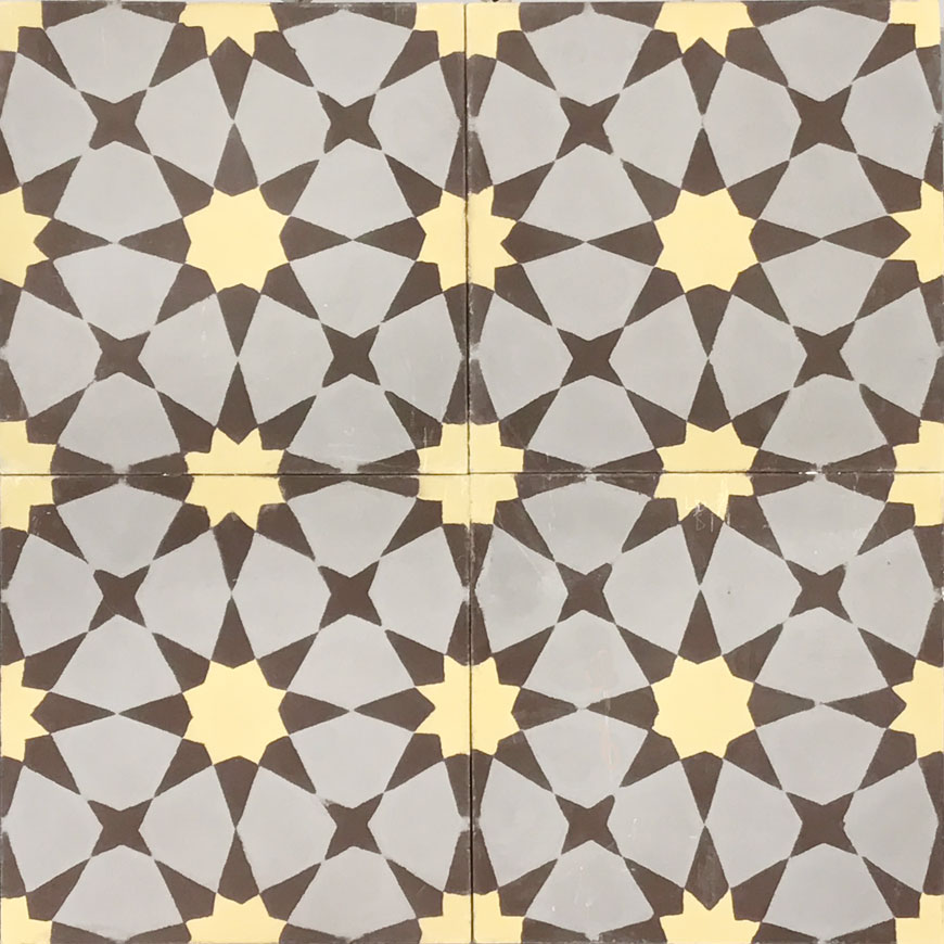 Mosaic House Moroccan tile Snowbank C45-2-5 City Gray Yellow Chocolate, brown  cement, encaustic, field, pattern